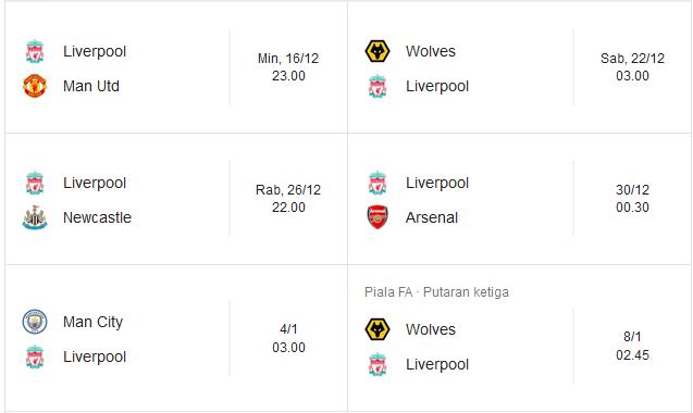 Jadwal Liverpool Liga Inggris Champion